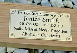 """SOLID BRASS MEMORIAL BENCH PLAQUE GRAVE SIGN PERSONALISED ENGRAVED 4"""" X 2"""""""