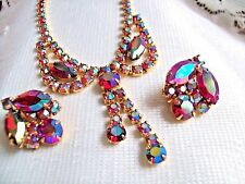 PINK AURORA BOREALIS RHINESTONE DROP NECKLACE CLIP EARRING VINTAGE JULIANA STYLE
