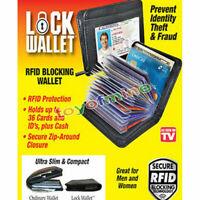 Schwarz Brieftasche Lock Wallet RFID Geldbörse Kreditkarte Slim Fold Neu