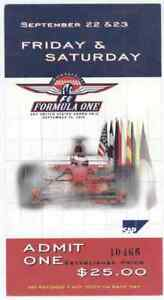 9/22-23/00 US Grand Prix Formula One Indianapolis Speedway Ticket! Pre Race Pass