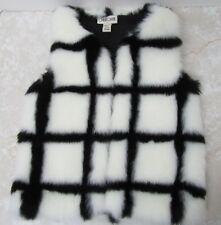 Little Girl's Faux Fur Vest Sz XS 4/5 Black White Plaid Fall Furry Cherokee