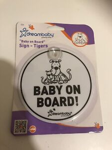 Dreambaby Baby On Board Car Window Sign with Suction Cup Tigers English