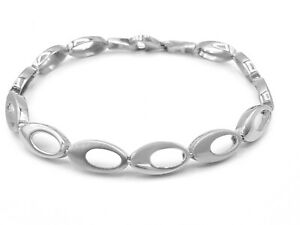 Genuine Solid Sterling Silver 925 Oval Link Two Tone Chain Bracelet for Women