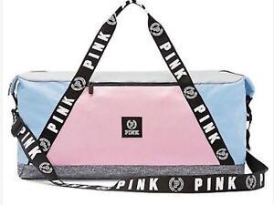 Victorias Secret PINK L Blue Duffle Bag Travel Gym Weekender Tote NWT