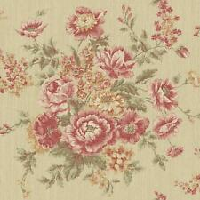 Wallpaper Designer Red Rust Pink Green Rose Floral Faux Tapestry on Tan Faux