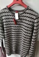 NWT 1390$ ISAIA CREWNECK SWEATER polo Winter Dark grey, White luxury Italy XXL