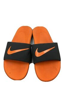 Nike Youth KAWA SLIDES Sandals Flip Flops - Orange & Black - Size 6Y
