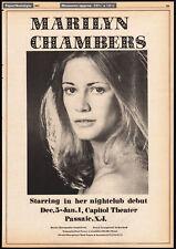 MARILYN CHAMBERS Nightclub Debut__Original 1973 Trade print AD promo / poster
