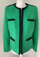 Womens New Boden Green & Navy Wool Brompton Jacket UK 10