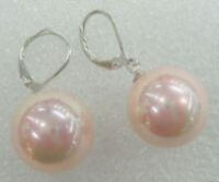 Lovely 12mm Pink South Sea Shell Pearl Round Beads Silver Dangle Earrings AAA