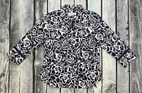 Coldwater Creek 3/4 Sleeve Floral Blue White Career Blouse Shirt Small #T