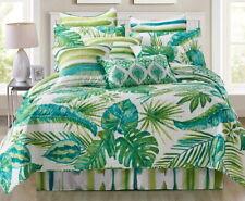 Tropical Palms 3pc King Quilt Set : Ocean Beach House Green Leaves Hawaiian