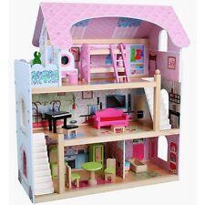 Maison de poupée en bois avec Meuble Accessoires Équipement À Jouer 3 étages