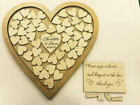 Personalised gold wedding heart shaped guest book drop box wooden 56 hearts