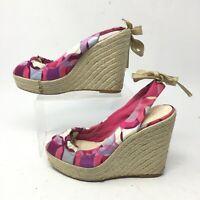Coach Maritza Slingback Espadrille Wedge Sandals Womens 6B Peep Toe Fabric Pink