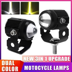 Pair 125W Mini LED Projector Work Fog Lights Motorbike Headlights Bicycle Lamp