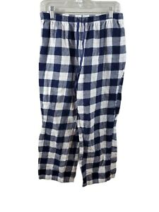 Croft & Barrow Women's Medium Petite Blue White Plaid Flannel Pajama Pants