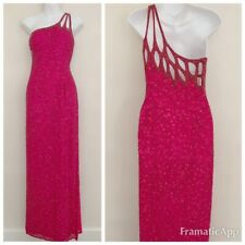 Vintage Scala Women Dress Sz S Pink Gown 100% Silk Sleeveless Beads One-Shoulder