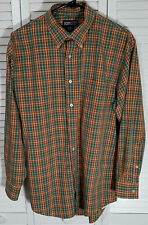 Lands' End Mens Long Sleeve Button Down Collar Paid Shirt Size:16│32 Excel Cond