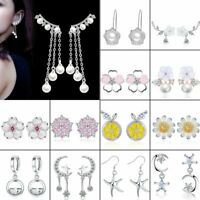 Chic  Silver Crystal Flower Pearl Stud Earrings Women Wedding Party Hot Gift
