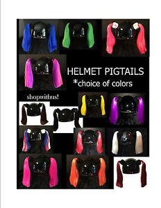 Ladies Girls Helmet Pigtails ~Motorcycle Skateboarding ATV Biking Bike~Pig Tail