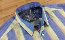 Robert Graham Flip Cuff Button Up Dress Shirt Striped MultiColor Large