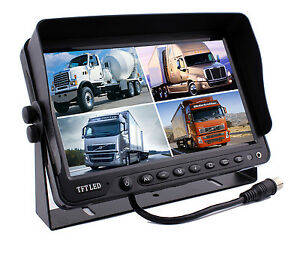 """9"""" Monitor With DVR Quad Screen for Vehicle Backup Reverse Camera Safety System"""