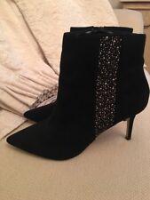 CARVELA KURT GEIGER Sabre Mid Heel Ankle Boots Black Size Uk 7 Eu 41 BNWOB