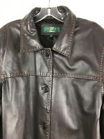 ORVIS Women's Size Large Brown Soft Glove Leather Lined Stitched Car Coat India