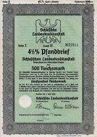 Schlesische Landeskreditanstalt, 4 1/2% Pfandbrief 1939 R.2 (500 RM) + Coupons