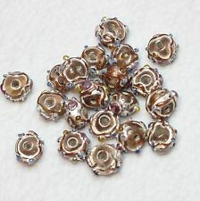 20 INDIAN LAMPWORK GLASS BEADS PALE GOLD 8mm ROUND (BBB569)