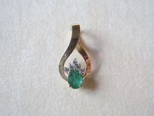 14kt Yellow Gold .5 Carat Green Emerald with Daimond Accents Pendant 2.13 Grams