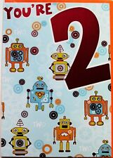 You're 2 Birthday card, suitable for male or female, robots theme, brand new