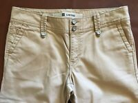 Womens GAP Low Rise Size 4 Cropped Capri Tan Cotton Twill Gaucho Flare Excellent