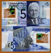 Scotland, Clydesdale Bank, 5 pounds,  2016, P-New, POLYMER, UNC > New Sign.