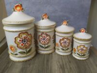 4 Vintage Sunflower Ceramic Canisters Japan Woven Braided Orange Flowers Cottage