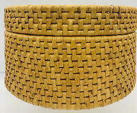 "Old VTG Handwoven 8.1/4""x 4.1/2"" Ethnic Round Weave Basket Lidded Container !"