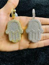 14k Gold Finish Hamsa Hand Fatima Palm Hip Hop Simulated Diamond Pendant w/Chain