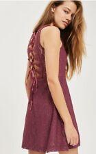 TopShop - Petite Purple Lace Up Mini Skater Dress - Size 12 - BNWT