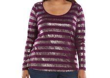 NWT Women Jennifer Lopez Purple & Silver Striped Long Sleeve Tee Top Size XL