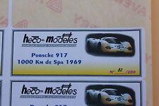 PR 1 ex étiquette autocollant Heco modeles Porsche 917 1000 km de SPa 1969 Heco