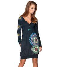 Desigual Cristina Long Sleeve pockets Dress navy Blue (Marino) sz M (4-6-8) new