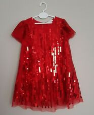 🎄 Girls Red Sparkly Sequined Dress H&M Christmas Xmas Party Size 18 months 🎄