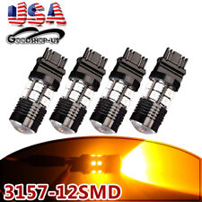 4x Amber/Yellow 3157 3156 High Power 7W LED LED Interior Light Bulbs 4057 4157