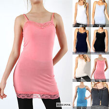 775eb543afec1 Lace Trim Long Camisole Tank Top Womens Layering Basic Plain CLEARANCE