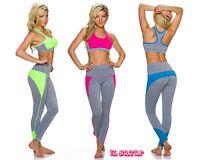 completo gym donna tuta sport 2 pezzi 3 variante colore tg S/M ; L/XL