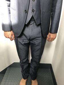 Hugo Boss Herren Anzug 48 blaugrau mit Weste