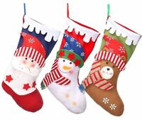 "3 Pack Christmas Stockings 18"" Christmas Stocking Holder Santa Snowman Reindeer"