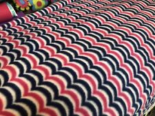 "Navy Blue Pink Fleece Cut Fabric almost 1 Yard 32"" X 60"""