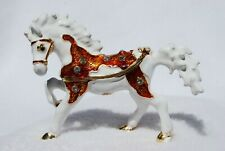 SWAROVSKI CRYSTAL BEJEWELED ENAMEL HINGED TRINKET BOX -  SMALL WHITE HORSE